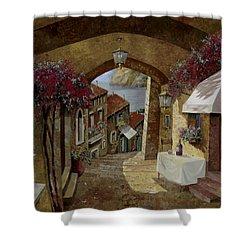 Un Bicchiere Sotto Il Lampione Shower Curtain by Guido Borelli
