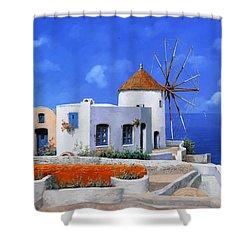 un mulino in Grecia Shower Curtain