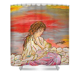 Shower Curtain featuring the painting Un Pensiero Costante by Loredana Messina
