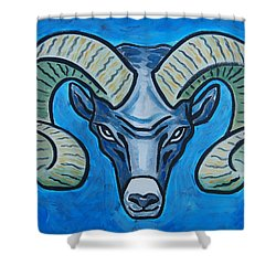 Ram With Sky Blue Shower Curtain