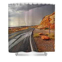 Uncertainty - Lightning Striking During A Storm In The Valley Of Fire State Park In Nevada. Shower Curtain