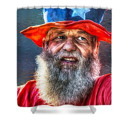 Uncle Sam Shower Curtain by Rick Mosher