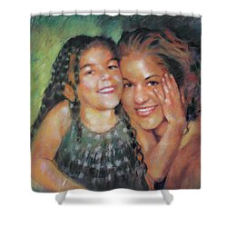 Shower Curtain featuring the drawing Unconditional Love by Viola El
