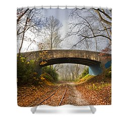 Under And Over  Shower Curtain by Debra and Dave Vanderlaan