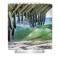 Shower Curtain featuring the digital art Under Crystal Pier by Phil Mancuso