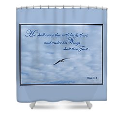 Shower Curtain featuring the photograph Under His Wings by Larry Bishop