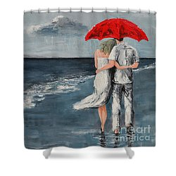 Under Our Umbrella - Modern Impressionistic Art - Romantic Scene Shower Curtain