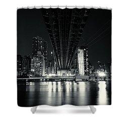 Under The Bridge - New York City Skyline And 59th Street Bridge Shower Curtain by Vivienne Gucwa