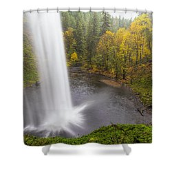 Under The Falls With Autumn Colors In Oregon Shower Curtain by David Gn