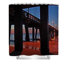Under The Gulf State Pier  Shower Curtain by Michael Thomas