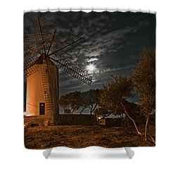 Vintage Windmill In Es Castell Villacarlos George Town In Minorca -  Under The Moonlight Shower Curtain