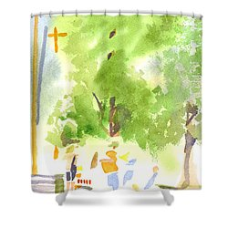 Under The Shade Trees Farmers Market Iv Shower Curtain by Kip DeVore