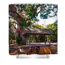 Under The Shadow Of The Tree. Eureka. Mauritius Shower Curtain by Jenny Rainbow