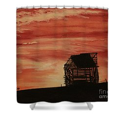 Shower Curtain featuring the painting Under The Sunset by Stanza Widen