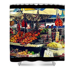 Shower Curtain featuring the photograph Under The Umbrellas by Miriam Danar