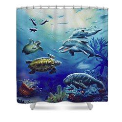 Under Water Antics Shower Curtain by Thomas J Herring