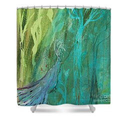 Shower Curtain featuring the painting Undercover Peacock by Robin Maria Pedrero