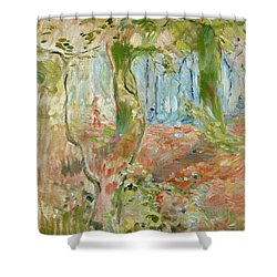 Undergrowth In Autumn Shower Curtain by Berthe Morisot