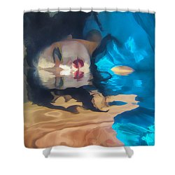 Underwater Geisha Abstract 1 Shower Curtain by Scott Campbell