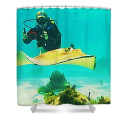 Underwater Photographer And Stingray Shower Curtain by John Malone Halifax Artist