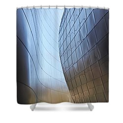 Undulating Steel Shower Curtain by Rona Black