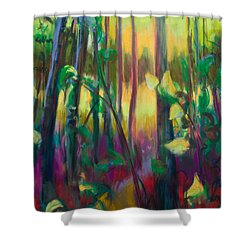 Unexpected Path - Through The Woods Shower Curtain by Talya Johnson
