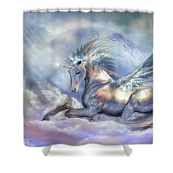 Unicorn Of Peace Shower Curtain by Carol Cavalaris