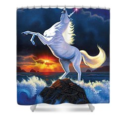 Unicorn Raging Sea Shower Curtain