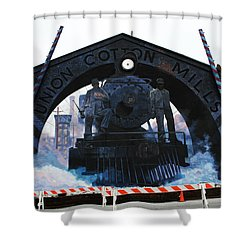 Union Cotton Mills Shower Curtain by Blue Sky