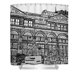 Union Light And Power In Black And White Shower Curtain