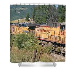 Shower Curtain featuring the photograph Union Pacific 6587 by Fortunate Findings Shirley Dickerson