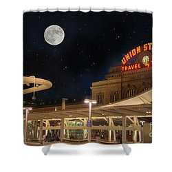 Union Station Denver Under A Full Moon Shower Curtain by Juli Scalzi