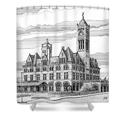 Shower Curtain featuring the drawing Union Station In Nashville Tn by Janet King