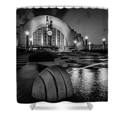 Union Terminal At Night Shower Curtain by Keith Allen