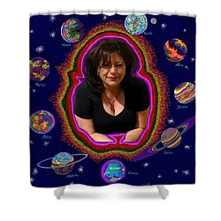 United Planets Of Mona Robin Shower Curtain