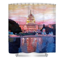 United States Capitol In Washington D.c. At Sunset Shower Curtain by M Bleichner