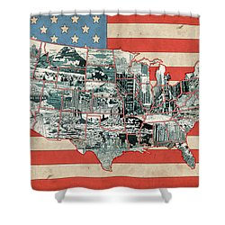 United States Flag Map Shower Curtain