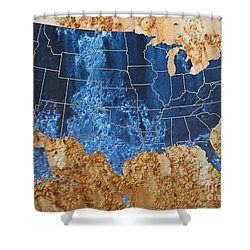 United States In Navy Blue And Rust Shower Curtain
