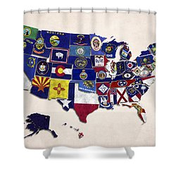 United States Map With Fifty States Shower Curtain by World Art Prints And Designs
