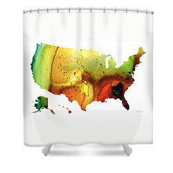 United States Of America Map 5 - Colorful Usa Shower Curtain by Sharon Cummings