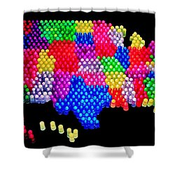 United States Of Lite Brite Shower Curtain by Benjamin Yeager
