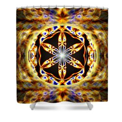 Shower Curtain featuring the drawing Universal Heart Fire by Derek Gedney
