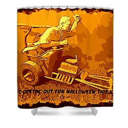 Universal Mosters Mummys Chariot Card Shower Curtain by John Malone