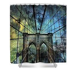 Universe And The Brooklyn Bridge Shower Curtain