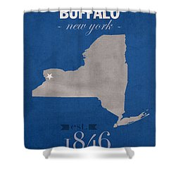 University At Buffalo New York Bulls College Town State Map Poster Series No 022 Shower Curtain by Design Turnpike
