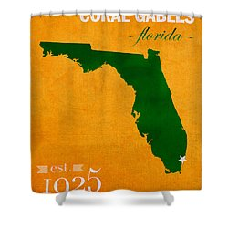 University Of Miami Hurricanes Coral Gables College Town Florida State Map Poster Series No 002 Shower Curtain by Design Turnpike