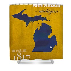 University Of Michigan Wolverines Ann Arbor College Town State Map Poster Series No 001 Shower Curtain by Design Turnpike