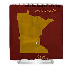 University Of Minnesota Golden Gophers Minneapolis College Town State Map Poster Series No 066 Shower Curtain by Design Turnpike
