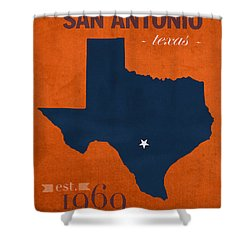 University Of Texas At San Antonio Roadrunners College Town State Map Poster Series No 111 Shower Curtain by Design Turnpike