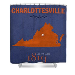 University Of Virginia Cavaliers Charlotteville College Town State Map Poster Series No 119 Shower Curtain